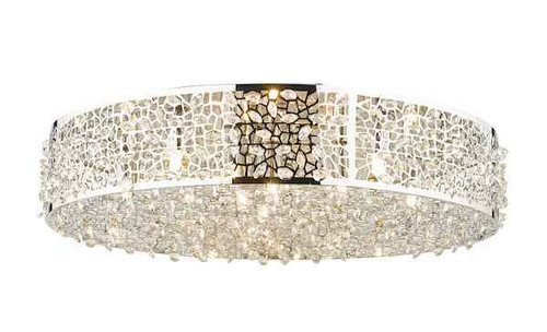 Kotaro 6 Light Polished Chrome and Crystal Flush Ceiling Light
