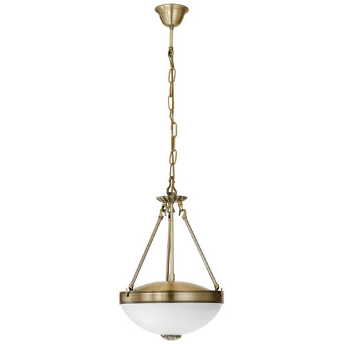 Eglo Lighting Savoy Bronzed with White Satin Glass Pendant Light