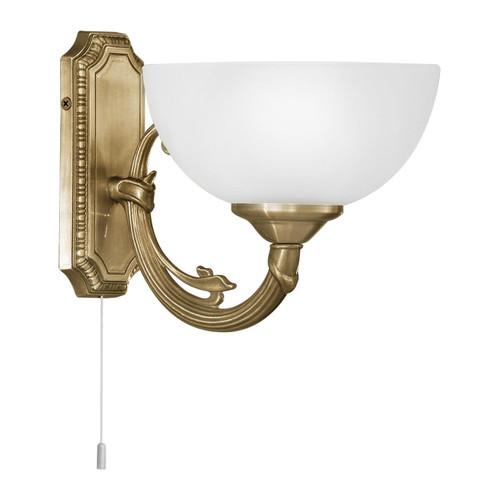 Eglo Lighting Savoy Bronzed with White Satin Glass Wall Light