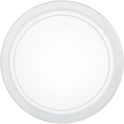 Eglo Lighting Planet 1 White with Clear White Painted Glass Shade Wall and Ceiling Light