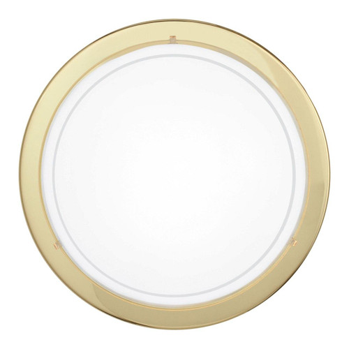 Eglo Lighting Planet 1 Brass with White Painted Glass Shade Wall and Ceiling Light