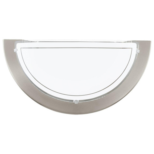 Eglo Lighting Planet 1 Satin Nickel with White Painted Glass Shade Wall Light