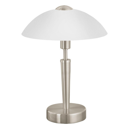 Eglo Lighting Solo 1 Satin Nickel with White Satin Glass Shade Table Lamp