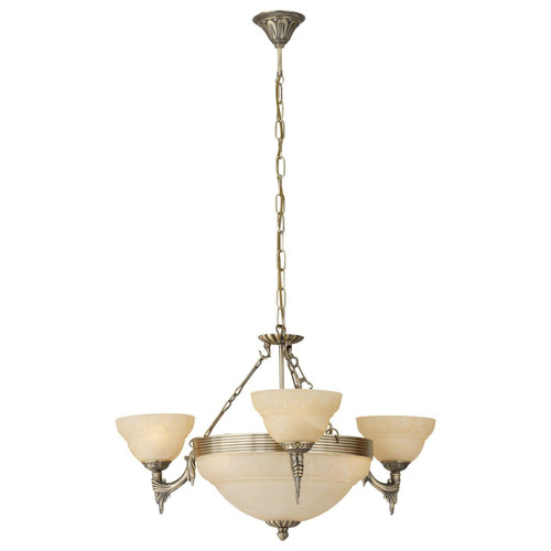 Eglo Lighting Marbella 3 Light Bronzed with Champagne Alabaster Glass Shade Pendant Light
