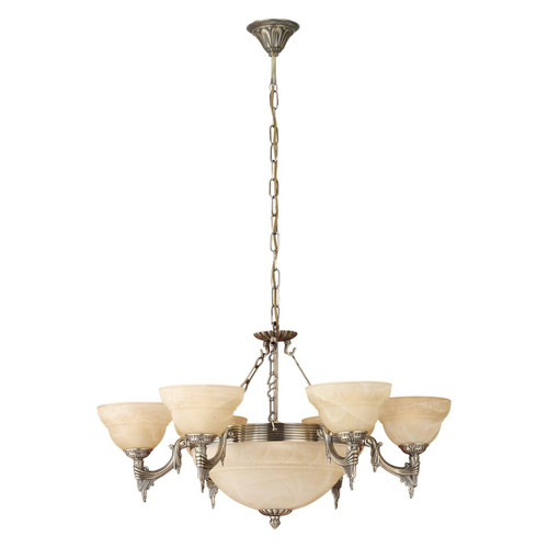 Eglo Lighting Marbella 5 Light Bronzed with Champagne Alabaster Glass Shade Pendant Light
