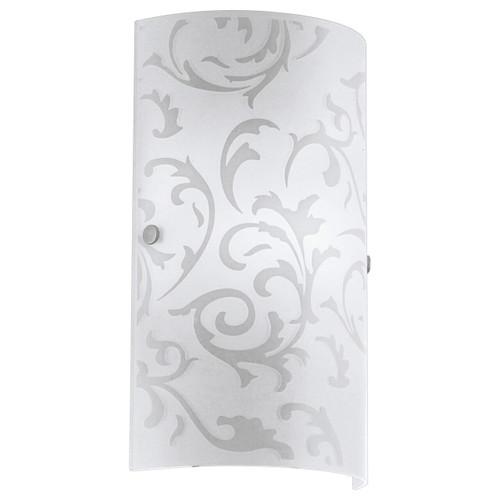 Eglo Lighting Amadora Satin Nickel with White Printed Glass Shade Wall Light
