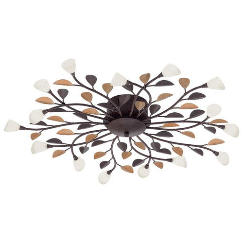 Eglo Lighting Campania Antique Brown and Gold with White Chalked Glass Shade Ceiling Light