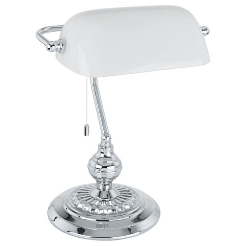 Eglo Lighting Banker Chrome with White Satin Glass Shade Table Lamp