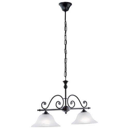 Eglo Lighting Murcia 2 Light Black with White Alabaster Glass Shade Pendant Light