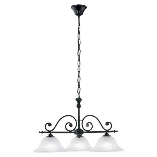 Eglo Lighting Murcia 3 Light Black with White Alabaster Glass Shade Pendant Light