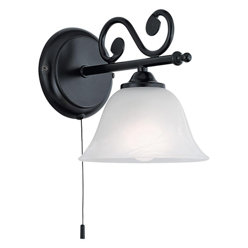 Eglo Lighting Murcia Black with White Alabaster Glass Shade Wall Light