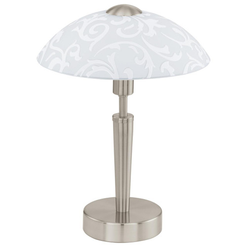 Eglo Lighting Solo Satin Nickel with White Decor Satin Glass Table Lamp