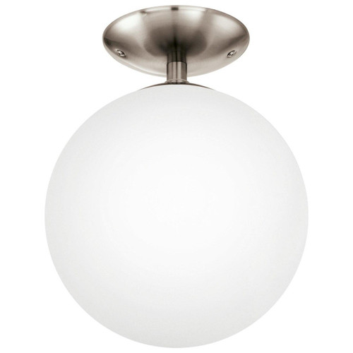 Eglo Lighting Rondo Satin Nickel with White Matt Opal Ceiling Light