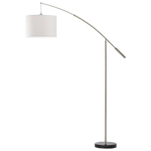 Eglo Lighting Nadina Satin Nickel and White Fabric with Hoop and Loop Tape Floor Lamp