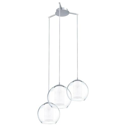 Eglo Lighting Bolsano 3 Light Chrome with Clear White Satin Glass Pendant Light