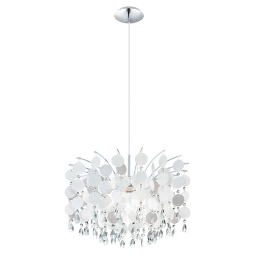 Eglo Lighting Fedra Chrome with Clear Mother of Pearl Crystal Shade Pendant Light