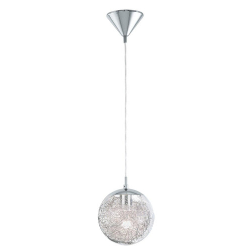 Eglo Lighting Luberio Chrome and Clear Aluminium Glass Shade Pendant Light