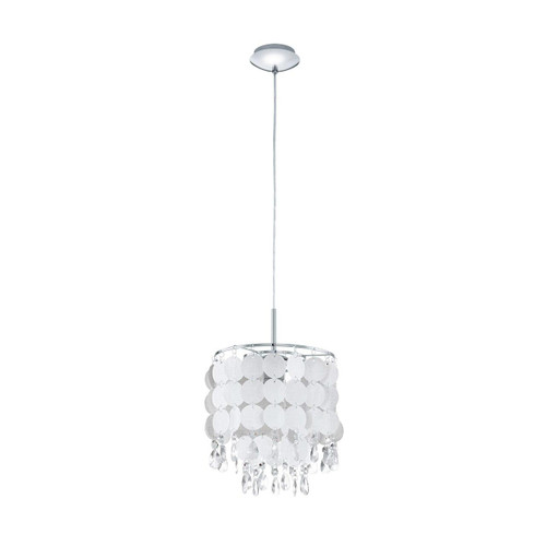 Eglo Lighting Fedra 2 Chrome with Clear Mother of Pearl Crystal Shade Pendant Light