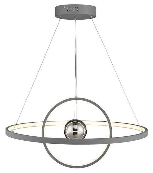 Mercury Horizontal 2 Sphere Grey LED Ring Pendant light