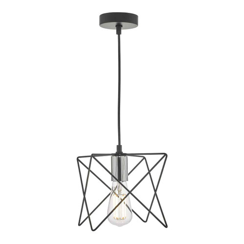 Midi Black and Polished Chrome Pendant Light