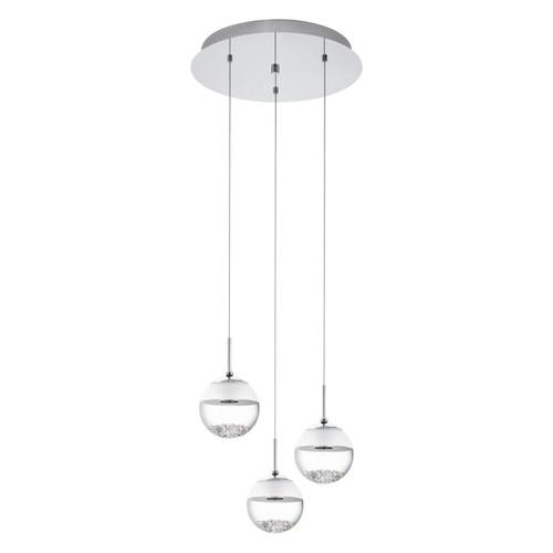 Eglo Lighting Montefio 1 3 Light Chrome with Clear White Crystal Glass Shade Pendant Light