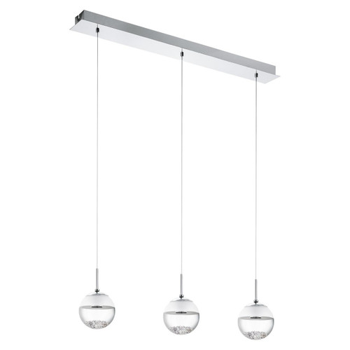 Eglo Lighting Giolina 3 Light Chrome with Clear White Crystal Glass Shade Pendant Light