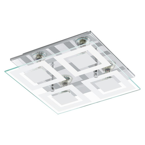 Eglo Lighting Almana 4 Light Chrome with Clear White Satin Glass Wall and Ceiling Light