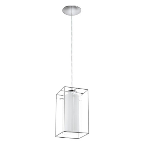 Eglo Lighting Loncino 1 Chrome with Clear White Satin Glass Shade Pendant light