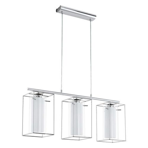 Eglo Lighting Loncino 1 3 Light Chrome with Clear White Satin Glass Shade Bar Pendant light
