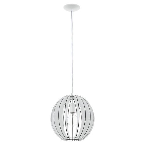 Eglo Lighting Cossano 300 White with White Wood Shade Pendant Light