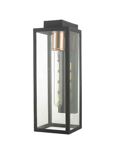 Naxos Black and Glass IP43 Wall Light