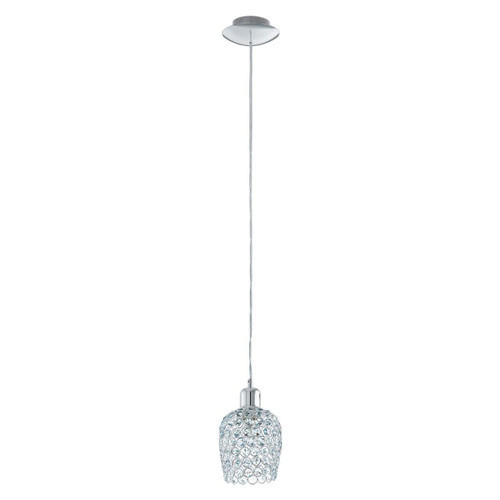 Eglo Lighting Bonares 1 Chrome with Clear Crystal Shade Pendant Light