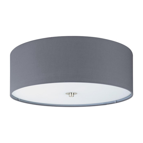 Eglo Lighting Pasteri Satin Nickel with Grey Fabric Shade Ceiling Light