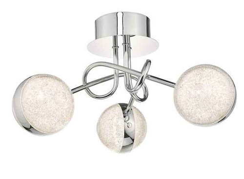 Nyma 3 Light Polished Chrome & Acrylic LED Semi Flush Ceiling Light