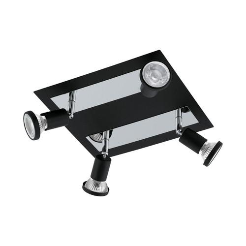Eglo Lighting Sarria 4 Light Square Black and Chrome Spotlight