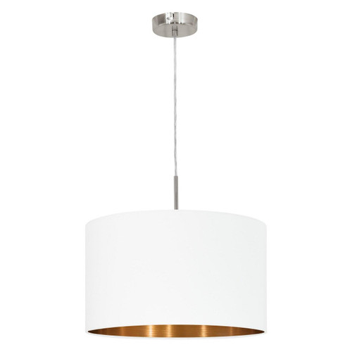 Eglo Lighting Pasteri 380 Satin Nickel with White and Copper Fabric Shade Pendant Light