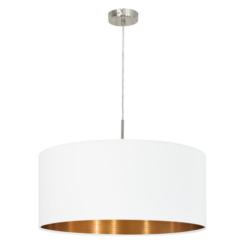 Eglo Lighting Pasteri 530 Satin Nickel with White and Copper Fabric Shade Pendant Light