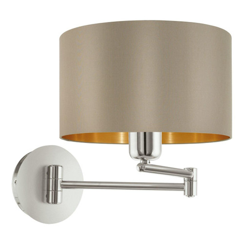 Eglo Lighting Maserlo Satin Nickel with Taupe and Gold Fabric Shade Wall Light