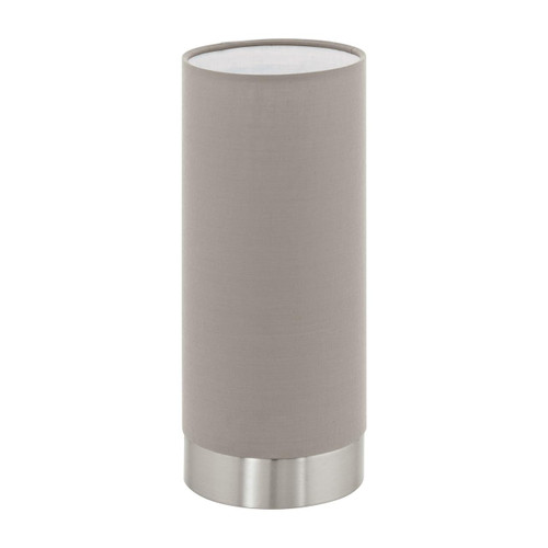 Eglo Lighting Pasteri Satin Nickel with Taupe Fabric Shade Touch Table Lamp