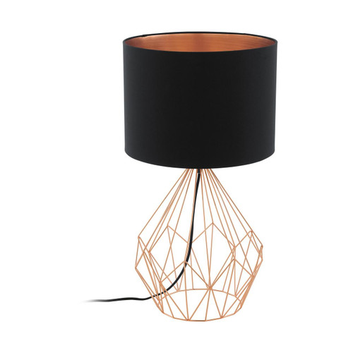 Eglo Lighting Pedregal 1 Copper with Black and Copper Fabric Shade Table Lamp