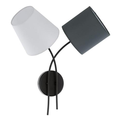 Eglo Lighting Almeida 2 Light Black with Multi-Coloured Fabric Shade Wall Light