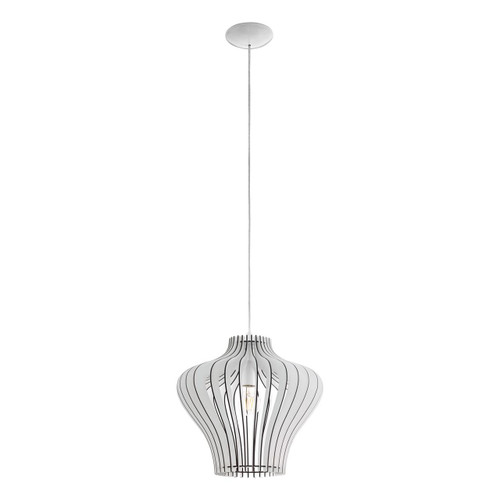 Eglo Lighting Cossano 2 380 White with Wooden Shade Pendant Light