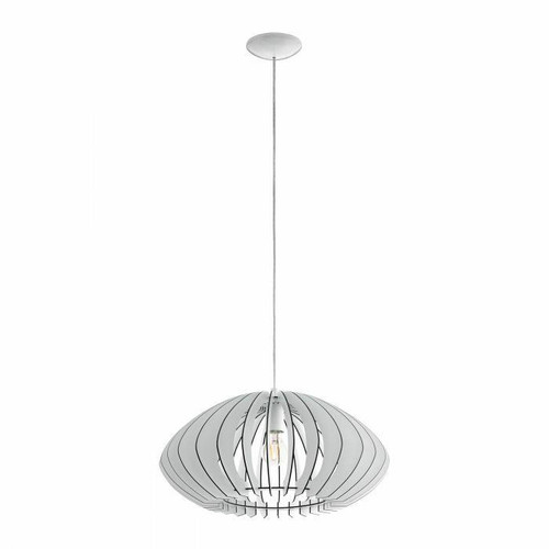 Eglo Lighting Cossano 2 500 White with Wooden Shade Pendant Light