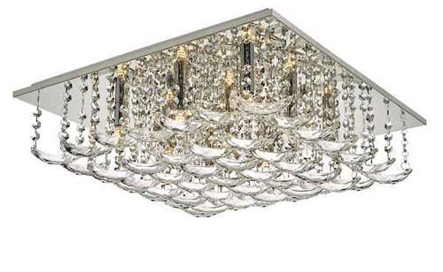 Orella 9 Light Polished Chrome & Crystal Flush Ceiling Light