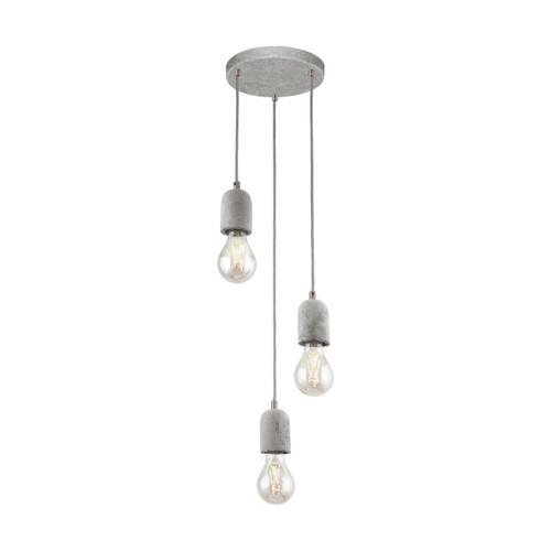 Eglo Lighting Silvares 3 Light Grey with Concrete Shade Pendant Light