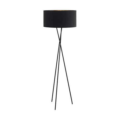 Eglo Lighting Fondachelli Black with Black and Copper Fabric Shade Floor Lamp