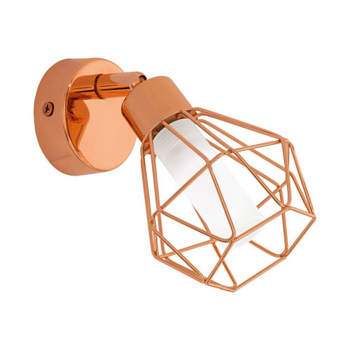 Eglo Lighting Zapata Copper with White Satin Glass Shade Wall Light