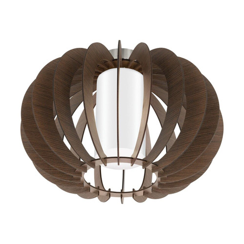 Eglo Lighting Stellato 3 Satin Nickel with Wood and Glass Shade Ceiling Light
