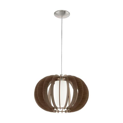 Eglo Lighting Stellato 3 400 Satin Nickel with Wood and Glass Shade Pendant Light