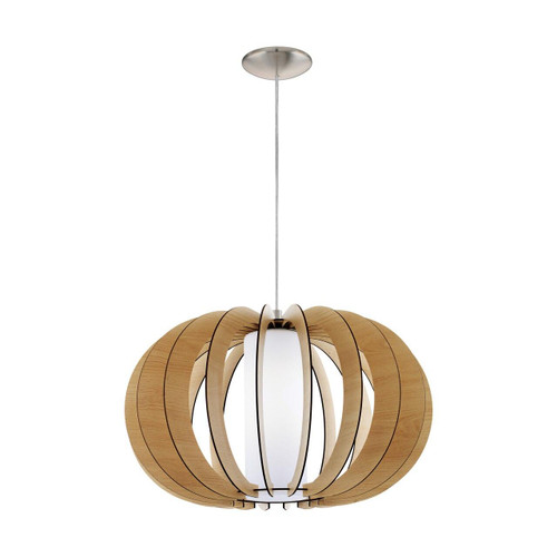 Eglo Lighting Stellato 1 500 Satin Nickel with Wood and Glass Shade Pendant Light